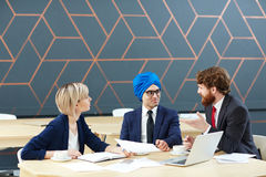 Interview of businessman Royalty Free Stock Photos