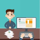 Interview a businessman vector. Employment, recruitment concept. Vector illustration royalty free illustration