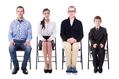Interview and career concept - young business people and one lit Stock Image