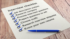 Interview checklist blue pen on wooden table Stock Photos
