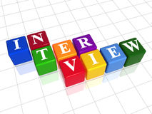 Interview in colour 2. 3d colour boxes with text - interview, word Stock Photography