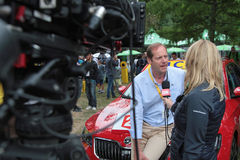 Interview of the director of Tour De France. PAU, FRANCE, July 15, 2015 : Director of the Tour de France cyclist race, Christian Prudhomme, in the Village Depart Stock Images