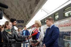 Interview at the double-decker train Mikhail Ulyanov Royalty Free Stock Photo