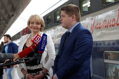 Interview at the double-decker train Mikhail Ulyanov Stock Images