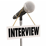 Interview Hanging Sign Microphone Word Questions Answers Speaker Royalty Free Stock Photo