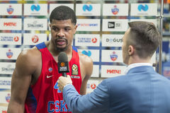 Interview Kyle Hines 42. MOSCOW, RUSSIA - JANUARY 27, 2017: Kyle Hines 42 on the on basketball game CSKA vs Anadolu Efes on Regular championship of Euroleague on Royalty Free Stock Image