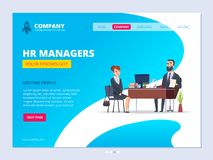 Interview landing. Hr manager director male dialogue with female worker business website layout design vector template stock illustration