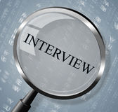 Interview Magnifier Shows Research Conference And Interviewed Royalty Free Stock Photography