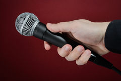 Interview with microphone Royalty Free Stock Photos