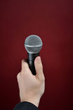 Interview with microphone Royalty Free Stock Photography
