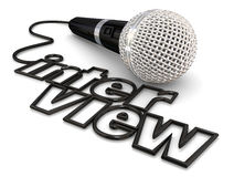 Interview Microphone Cord Wire Word Radio Podcast Discussion. Interview microphone cord word to illustrate a guest being asked questions on a radio, podcast or royalty free illustration