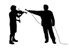Interview with musician or recording music. Illustration silhouette of an interview with female violinist musician or recording music sound. Isolated white Stock Images