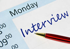 Interview note. In the agenda Royalty Free Stock Photos