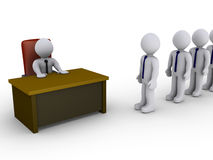 Interview in the office. 3d people in line wait to be interviewed by person behind a desk Royalty Free Stock Photo