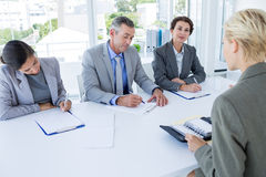 Interview panel listening to applicant stock photo