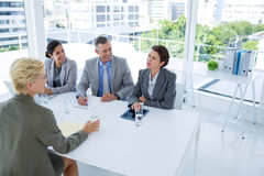 Interview panel listening to applicant Stock Image