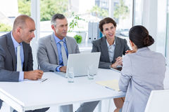 Interview panel listening to applicant Royalty Free Stock Photo