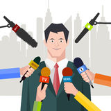 Interview  politician before a microphone. flat style Stock Photo