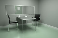 Interview room. A police or agencys empty interrogation / interview room Stock Photo