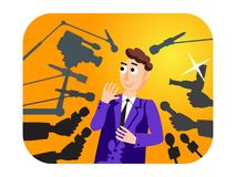 interview Sprechermann Mikrophone getrennt auf weißem Hintergrund nachrichten Livebericht, Livenachrichten Viele Hände von Journa Stockfoto