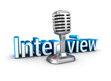 Interview text and microphone Royalty Free Stock Photos