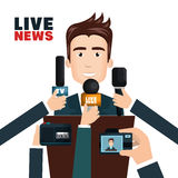 Interview to person on podium Royalty Free Stock Photography