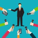 Interviewen Sie einen antwortenden Fragenvektor des Geschäftsmannes oder des Politikers vektor abbildung