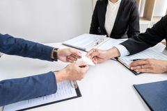 Interviewer or Board reading a resume during job interview, Empl royalty free stock photo
