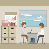 Interviewing an employee in the office. Employment, recruitment concept. Modern style stock illustration