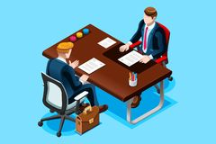 Interviewing job search man office. Interviewing job search. Business man Flat isometric design vector illustration Stock Images