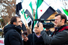 Interviewing a Syrian manifestant Stock Images