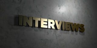 Interviews - Gold text on black background - 3D rendered royalty free stock picture Stock Photo