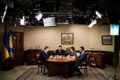 Interviews of Petro Poroshenko for Ukrainian TV channels Stock Photography