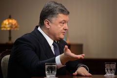 Interviews of Petro Poroshenko for Ukrainian TV channels Stock Photos