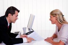 Intervista con un consulto Immagini Stock