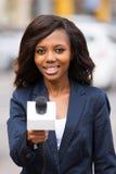 Intervista del reporter di notizie fotografia stock