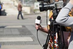 Intervista della TV Immagini Stock