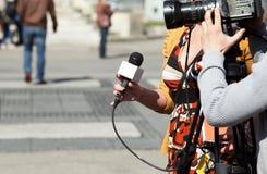 Intervista della TV Immagine Stock Libera da Diritti