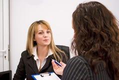 Intervista di job fotografia stock
