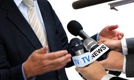 Intervista di media con il portavoce Immagini Stock