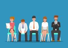 Intervju för jobb för affärsfolk väntande på vektor illustrationer