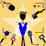 Intervju med stjärnan som är främst av kamerorna och mikrofonerna stock illustrationer