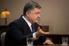 Intervjuer av Petro Poroshenko för ukrainska TV-kanal Arkivfoton