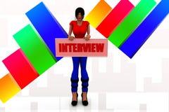 intervjuillustration för kvinnor 3d Royaltyfria Foton