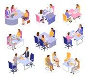 Intervjuvektorintervjuobjekt eller intervjuarefolk på affärsmöte och i regeringsställning illustrationuppsättning av den intervju vektor illustrationer
