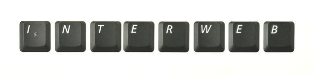 INTERWEB. Word series from real keyboard keys depicting typical terms of reference connected to internet and IT topics. Shot overhead with soft shadows against a Royalty Free Stock Image