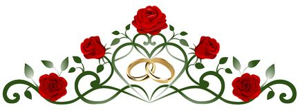 Interwined wedding rings and red roses decoration vector illustration