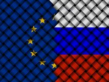 Interwoven EU Russian flags illustration. European Union flag and Russian Federation flag interwoven in abstract 3d illustration Royalty Free Stock Image