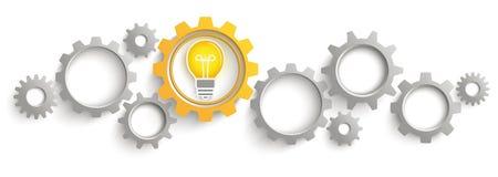 Intestazione bianca del fondo di Gray Orange Gears Bulb Idea Immagini Stock