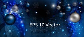 Intestazione blu elegante di Natale con le stelle, palle decorative illustrazione di stock